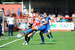Joe Martin of Stevenage competes with Kevin Dawson of Cheltenham Town- Mandatory by-line: Nizaam Jones/JMP - 02/09/2017 - FOOTBALL - LCI Rail Stadium - Cheltenham, England - Cheltenham Town v Stevenage- Sky Bet League Two
