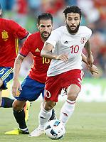 Spain's Cesc Fabregas (l) and Georgia's Tornike Okriashvili during international friendly match. June 7,2016.(ALTERPHOTOS/Acero)