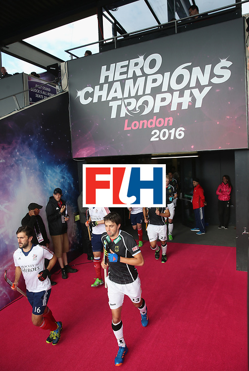 LONDON, ENGLAND - JUNE 17: Players run out during the FIH Mens Hero Hockey Champions Trophy 3rd-4th place match between Germany and Great Britain at Queen Elizabeth Olympic Park on June 17, 2016 in London, England.  (Photo by Alex Morton/Getty Images)