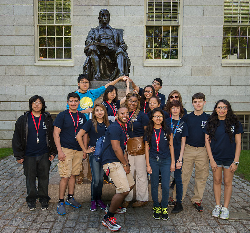 Houston ISD EMERGE students pose in front of the John Harvard statue at Harvard, June 3, 2014.