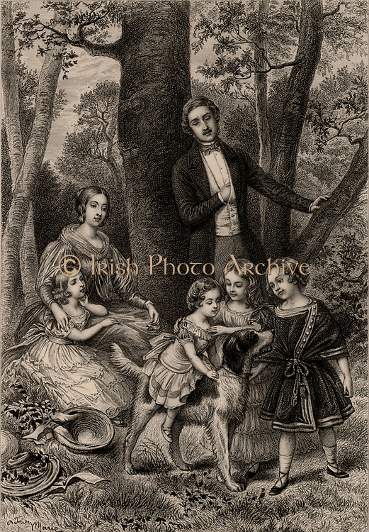 Victoria (1819-1901) queen of Great Britain and Ireland from 1837, Empress of India from 1875. Victoria and her husband Prince Albert and their four eldest children, Vicoria, Albert Edward, Alice and Alfred in Windsor Forest in 1847. Engraving.