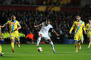 Swansea city's Wayne Routledge © in action. UEFA Europa league match , Swansea city v Napoli at the Liberty Stadium in Swansea, South Wales on Thursday 20th Feb 2014. pic by Andrew Orchard, Andrew Orchard sports photography.