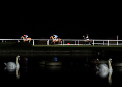 Horses go to post in the 32Red Handicap stakes at Kempton Park Racecourse, Esher.