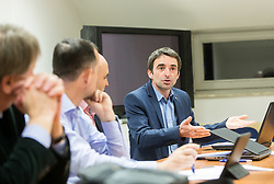 Enzo Smrekar, Jozko Krizan, old director and Franci Petek, new director during meeting of Executive Committee of Ski Association of Slovenia (SZS), on March 15, 2017 in SZS, Ljubljana, Slovenia. Photo by Vid Ponikvar / Sportida