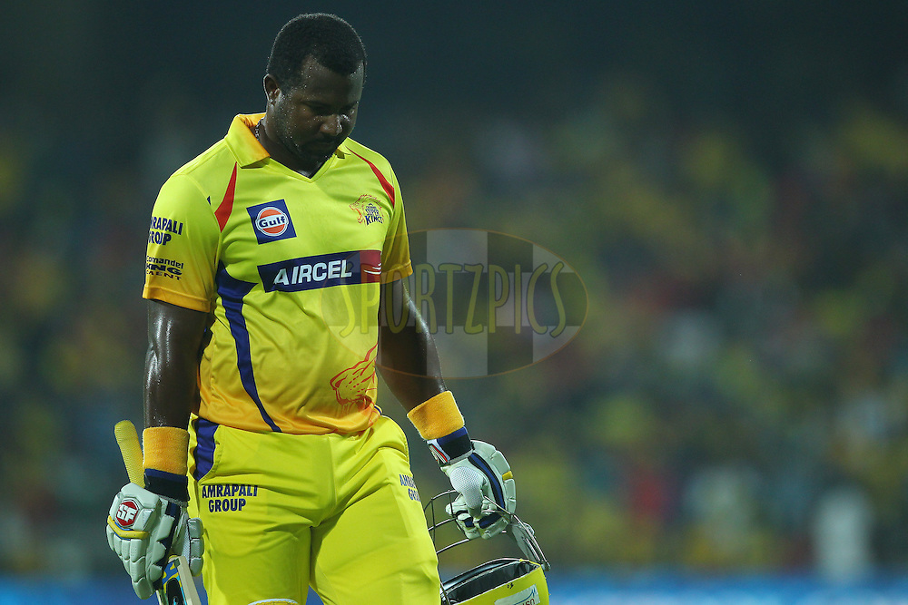 Dwayne Smith of the Chennai Superkings departs during match 47 of the Pepsi IPL 2015 (Indian Premier League) between The Chennai Superkings and The Rajasthan Royals held at the M. A. Chidambaram Stadium, Chennai Stadium in Chennai, India on the 10th May 2015.<br /> <br /> Photo by:  Ron Gaunt / SPORTZPICS / IPL
