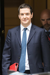 Downing Street, London, March 22nd 2016. The Chancellor of The Exchequer George Osborne leaves 11 Downing Street to defend his budget in Parliament. ©Paul Davey<br /> FOR LICENCING CONTACT: Paul Davey +44 (0) 7966 016 296 paul@pauldaveycreative.co.uk