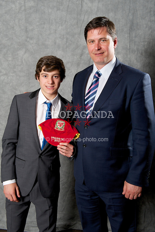 CARDIFF, WALES - Saturday, May 11, 2013: Daniel James with Welsh Football Trust chief-executive Neil Ward at the FAW Trust Under-16's cap presentation. (Pic by David Rawcliffe/Propaganda)