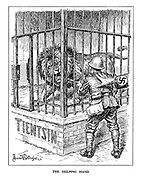 The Helping Hand. (a Nazi hand pushes forward a Japanase soldier with bayonet towards a caged British Lion at Tientsin, not knowing that the cage is open)