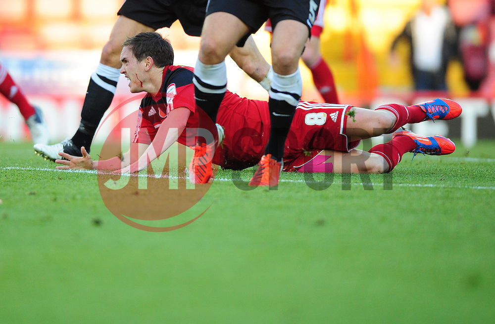 Bristol City's Neil Kilkenny is fouled by Charlton Athletic's Johnnie Jackson - Photo mandatory by-line: Joe Meredith/JMP  - Tel: Mobile:07966 386802 11/11/2012 - Bristol City v Charlton Athletic - SPORT - FOOTBALL - Championship -  Bristol  - Ashton Gate Stadium -