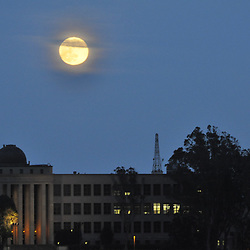 Moon Rise Over City College, San Francisco, California, US