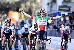 March 15, 2019 - Foligno, Perugia, Italia - Foto LaPresse/Fabio Ferrari .15/03/2019 Pomarance (Italia) .Sport Ciclismo.Tirreno-Adriatico 2019 - edizione 54 - da Pomarance a Foligno  (226 km) .Nella foto:Elia Viviani (Deceuninck - Quick-Step) . vincitore di tappa..Photo LaPresse/Fabio Ferrari .March 15, 2018 Pomarance (Italy).Sport Cycling.Tirreno-Adriatico 2019 - edition 54 - Pomarance to Foligno (140 miglia) .In the pic:Elia Viviani (Deceuninck - Quick-Step)  winner of race (Credit Image: © Fabio Ferrari/Lapresse via ZUMA Press)