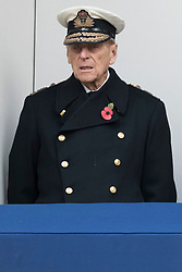 © Licensed to London News Pictures. 12/11/2017. London, UK.  The DUKE OF EDINBURGH, HRH QUEEN ELIZABETH II<br /> and CAMILLA DUCHESS OF CORNWALL attend a Day Ceremony at the Cenotaph war memorial in London, United Kingdom, on November 13, 2016 . Thousands of people honour the war dead by gathering at the iconic memorial to lay wreaths and observe two minutes silence. Photo credit: Ray Tang/LNP