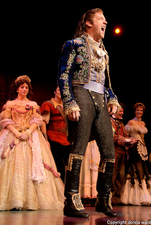 "Actor Steve Blanchard appears on stage during final curtain call of ""Beauty And The Beast "" at the Lunt-Fontanne Theatre on July 29, 2007 in New York City."
