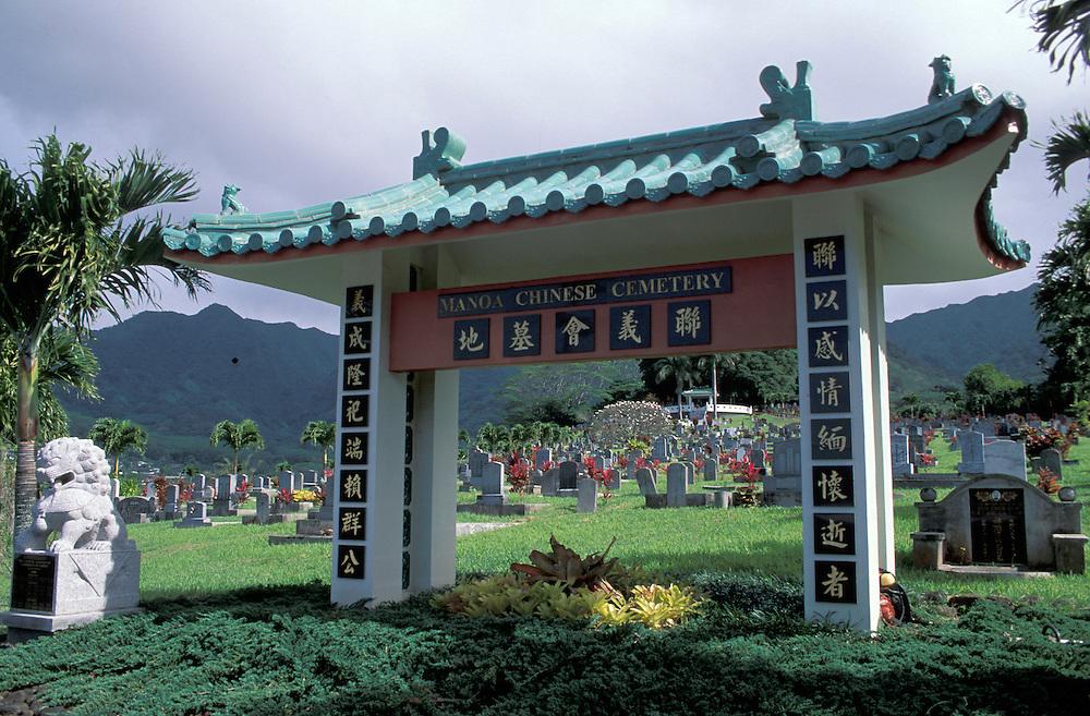 Manoa Chinese Cemetery, Honolulu, Oahu, Hawaii, USA
