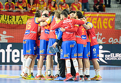 Team of Spain celebrates after handball match between National teams of Macedonia and Spain on Day 4 in Main Round of Men's EHF EURO 2018, on January 21, 2018 in Arena Varazdin, Varazdin, Croatia. Photo by Mario Horvat / Sportida