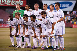 August 4, 2010; San Francisco, CA, USA;  Real Madrid starting line up poses before the game against Club America at Candlestick Park. Real Madrid defeated Club America 3-2.