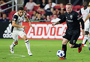 WASHINGTON, DC - AUGUST 29: Philadelphia Union midfielder Alejandro Bedoya (11) chases after D.C. United forward Wayne Rooney (9) during a MLS match between D.C United and the Philadelphia Union on August 29, 2018, at Audi Field, in Washington, DC. <br /> The Philadelphia Union defeated DC United 2-0.<br /> (Photo by Tony Quinn/Icon Sportswire)