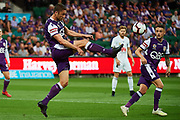 PERTH, AUSTRALIA - APRIL 28: Dino Djulbic of Perth Glory clears the ball during the A-League Match between then Wellington Phoenix v Perth Glory FC at HBF Park on April 28, 2019 in Perth, Australia. (Photo by Daniel Carson / Photosport)