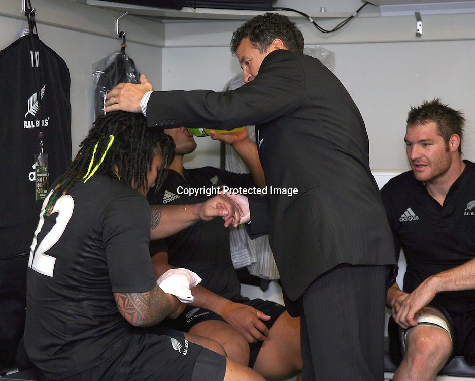 Asst. Coach Wayne Smith congratulates Ma'a Nonu on a good game. Iveco Test match Series, All Blacks beat England 37-20, 1st Test, Eden Park, Auckland, Saturday 14 June 2008. Photo: Marc Weakley/PHOTOSPORT