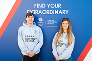 28 January 2018: <br /> Team GB today announced a six-year partnership with the University of Hull, which will incorporate both the Tokyo 2020 and Paris 2024 Olympic Games and the Beijing 2022 Olympic Winter Games.<br /> Pictured are students Florence Halstead and Andrew Morgan-Harrison at the announcement today.<br /> At the heart of the partnership will be the ability to benefit from shared information, joint research and enterprise projects delivered by the University in support of Team GB.<br /> The partnership will also cover opportunities for the University of Hull's students, staff and communities, including participating in Team GB events, developing courses, guest speakers and CV-boosting opportunities such as work experience and volunteering.<br /> Picture: Sean Spencer/Hull News & Pictures Ltd<br /> 01482 210267/07976 433960<br /> www.hullnews.co.uk         sean@hullnews.co.uk