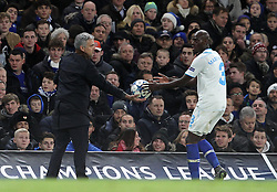 Chelsea Manager Jose Mourinho hands the ball back to Bruno Martins Indi of FC Porto for a throw in - Mandatory byline: Paul Terry/JMP - 09/12/2015 - Football - Stamford Bridge - London, England - Chelsea v FC Porto - Champions League - Group G