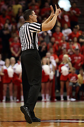 16 November 2015: Nate Green signals the scorer on an infraction. Illinois State Redbirds host the Morehead State Eagles at Redbird Arena in Normal Illinois (Photo by Alan Look)