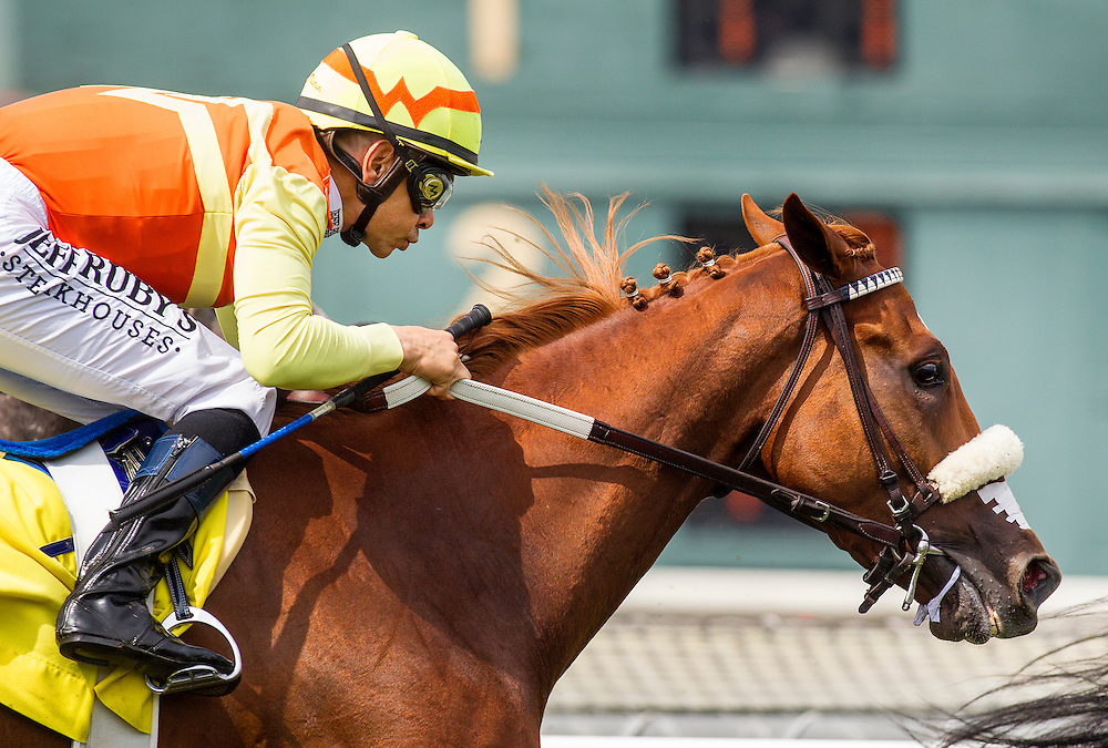 June 27 2015: Curlins Fox with Mike Smith up races in the Señorita Stakes at Santa Anita Park in Arcadia CA. Alex Evers/ESW/CSM