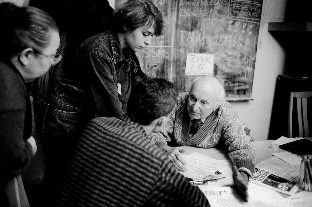 "Students and lecturers discussthe revolution taking place in Prague during the ""Velvet Revolution"". Prague, Czechoslovakia. November 1989"