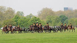 © Licensed to London News Pictures. 22/04/2019. LONDON, UK.  Members of the King's Troop Royal Horse Artillery arrive to take part in a 41 gun salute in Hyde Park marking the 93rd birthday of Her Majesty The Queen.  Six First Wold War-era 13-pounder Field Guns are used to fire blank artillery rounds..  Photo credit: Stephen Chung/LNP