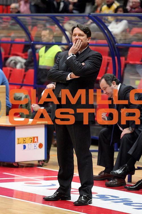 DESCRIZIONE : Livorno Lega A2 2007-08 TDShop.it Livorno Carmatic Pistoia<br /> GIOCATORE : Coach Lasi Maurizio<br /> SQUADRA : Carmatic Pistoia<br /> EVENTO : Campionato Lega A2 2007-2008<br /> GARA : TDShop.it Livorno Carmatic Pistoia<br /> DATA : 10/02/2008<br /> CATEGORIA : <br /> SPORT : Pallacanestro<br /> AUTORE : Agenzia Ciamillo-Castoria/Stefano D'Errico