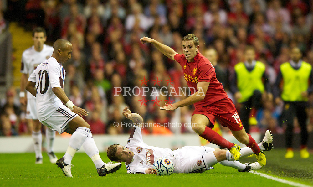 LIVERPOOL, ENGLAND - Thursday, August 30, 2012: Liverpool's Jordan Henderson in action against Heart of Midlothian during the UEFA Europa League Play-Off Round 2nd Leg match at Anfield. (Pic by Jed Wee/Propaganda)