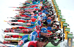 COUPE DU MONDE DE BIATHLON HOCHFILZEN..© Pierre Teyssot / ..Biathlets during the 12.5 km pursuit of the e.on Ruhrgas IBU Biathlon World Cup on Friday December the 12th, 2009 in Hochfilzen - PillerseeTal, Austria. The second e.on Ruhrgas IBU World Cup stage is taking place in Hochfilzen - PillerseeTal, Austria until Sunday the 13th of December.  (Photo by Pierre Teyssot / Sportida.com)