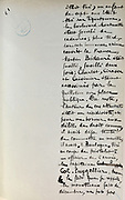 Handwritten notes for a speech supporting a bill offering amnesty to the communards (participants in the Paris Commune), 1876, page 21, by Victor Hugo, 1802-85, French writer, housed in the Archives du Senat, in the Senate in the Palais du Luxembourg, 6th arrondissement, Paris, France. Hugo was a senator for Seine 1876-85, and gave this speech on 22nd May 1876. Although this bill was not passed, a general amnesty was granted in 1880. Picture by Manuel Cohen