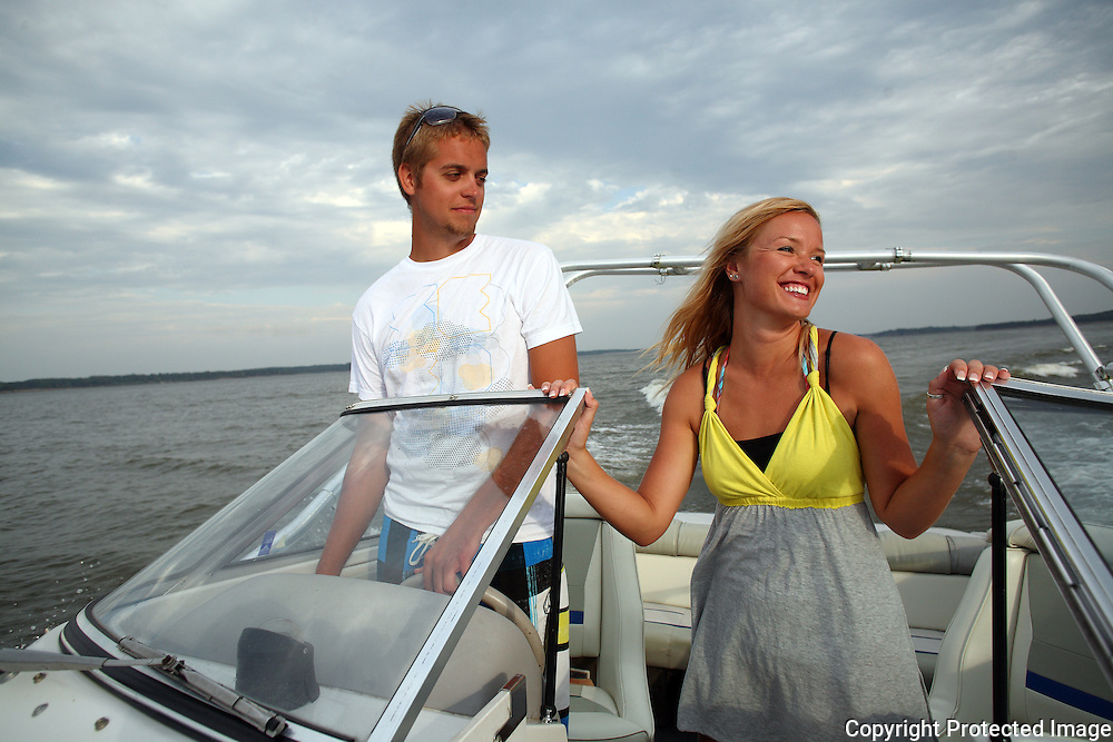 Anna Janssen and boyfriend Austin Ewell enjoy a boat ride on Red Rock Lake in central Iowa.