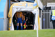 Teams in the tunnel before the game during the The FA Cup match between Mansfield Town and Guiseley  at the One Call Stadium, Mansfield, England on 3 December 2017. Photo by Mick Haynes.