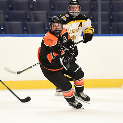 BUFFALO, NY - SEP 20,  2017: Ontario Junior Hockey League Governors Showcase game between the Orangeville Flyers and the Aurora Tigers, Eric Theander #7 of the Orangeville Flyers skates after the puck during the first period.<br /> (Photo by Andy Corneau / OJHL Images)
