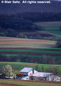 PA Landscapes, Farm, Fields and Forest, Early Spring, Perry Co., Pennsylvania (from Rt. 322)