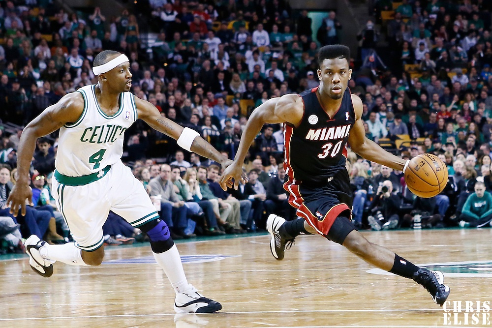 27 January 2013: Miami Heat point guard Norris Cole (30) drives past Boston Celtics shooting guard Jason Terry (4) during the Boston Celtics 100-98  2OT victory over the Miami Heat at the TD Garden, Boston, Massachusetts, USA.