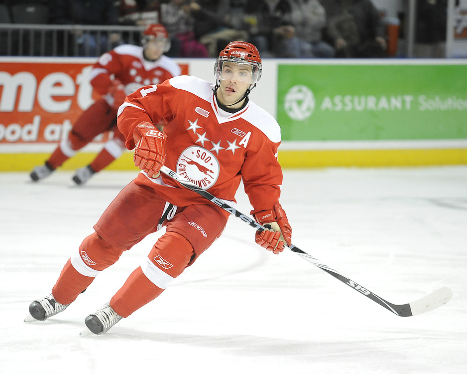 Daniel Catenacci of the Sault Ste. Marie Greyhounds. Photo by Aaron Bell/OHL Images