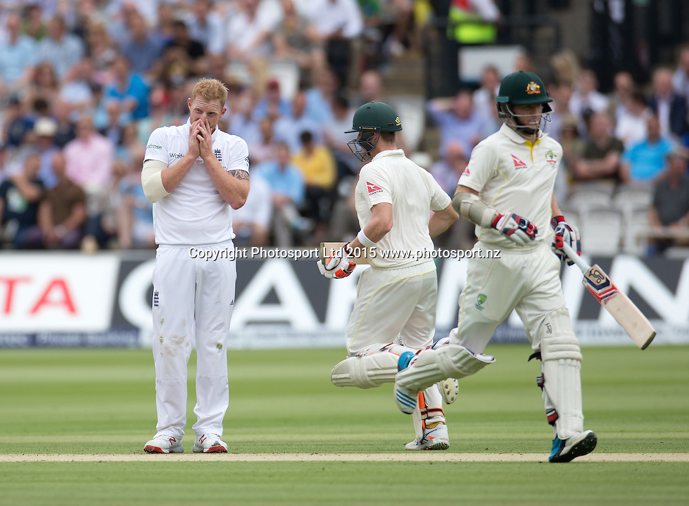 Chris Rogers (and Steve Smith) run past frustrated bowler Ben Stokes during the 2nd Investec Test Match between England and Australia at Lord's Cricket Ground, London. Photo: Graham Morris (Tel: +44(0)20 8969 4192 Email: sales@cricketpix.com) 16/07/15