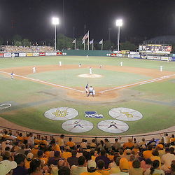 09 June 2008:  A record crowd of 8,029 packed into Alex Box Stadium for the stadium's final game in it's storied history. LSU closed the doors on Alex Box Stadium after 70-years in the building, the Tigers will play in a new and larger stadium next season. The LSU Tigers put a happy note to the end of their stay at Alex Box Stadium advancing to the College World Series with a 21-7 victory over the UC Irvine Anteaters in game three of the NCAA Baseball Baton Rouge Super Regional in Baton Rouge, LA..