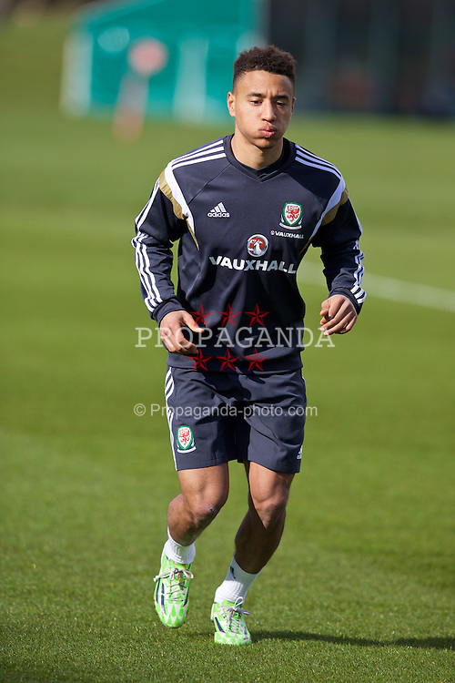 CARDIFF, WALES - Tuesday, March 24, 2015: Wales' Adam Henley during a training session at the Vale of Glamorgan ahead of the UEFA Euro 2016 qualifying Group B match against Israel. (Pic by David Rawcliffe/Propaganda)