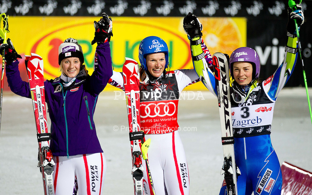 03.01.2012, Crveni Spust, Sljeme, CRO, FIS Weltcup Ski Alpin, Zagreb, Damen Slalom 2. Durchgang, im Bild Third placed KIRCHGASSER Michaela (AUT), winner SCHILD Marlies (AUT) and Second placed MAZE Tina (SLO) celebrate // after Slalom race 2nd run of FIS Ski Alpine World Cup at 'Crveni Spust' course in Sljeme, Zagreb, Croatia on 2012/01/03. EXPA Pictures © 2012, PhotoCredit: EXPA/ Sportida/ Vid Ponikvar..***** ATTENTION - OUT OF SLO *****