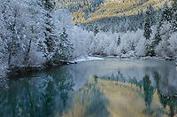 Nooksack River in winter North Cascades Washington