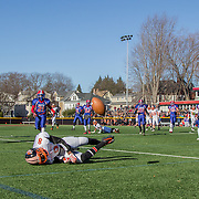 High School Football: Brookline Warriors vs. Newton North Tigers on Thanksgiving Day at Parsons Field in Brookline, MA.