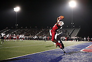 Bishop Dunne's Ricky Rollerson catches a pass to score a touchdown during the TAPPS Division I state championship game on Saturday, Dec. 3, 2016 at Panther Stadium in Hewitt, Texas. Bishop Lynch High School won 21-17. (Photo by Kevin Bartram)