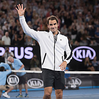 Roger Federer of Switzerland on day nine of the 2017 Australian Open at Melbourne Park on January 24, 2017 in Melbourne, Australia.<br /> (Ben Solomon/Tennis Australia)