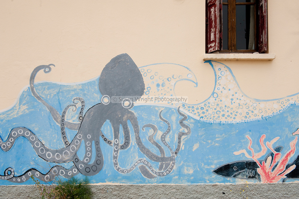 Mural on wall, Molivos, Lesbos island, Greece