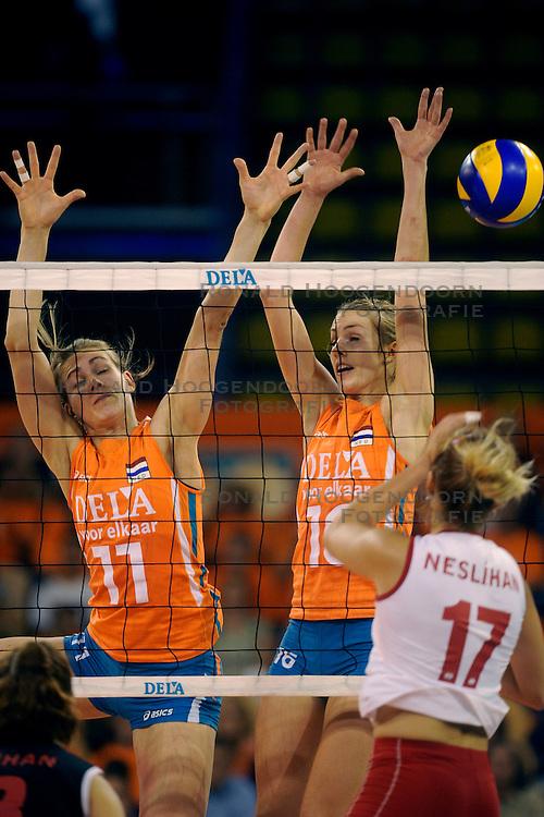 20-09-2009 VOLLEYBAL: DELA TROPHY NEDERLAND - TURKIJE: EINDHOVEN<br /> Nederland ook de tweede wedstrijd van Turkije maar ditmaal iets moeizamer 3 -2 / Debby Stam en Caroline Wensink<br /> &copy;2009-WWW.FOTOHOOGENDOORN.NL