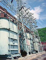 High power transformers provide output from Bellows Falls Station, Bellows Falls, VT